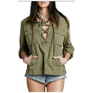 Free People Safari Pullover Jacket Army Green XS